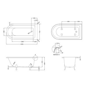 Roll Top Shower Bath 1500mm Drawing