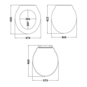 Hudson Reed Chancery Storm Grey Soft Close Toilet Seat Dimensions