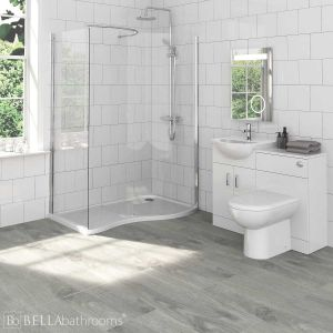 Saturn Bathroom Furniture Pack with Pacific Walk-In Shower Enclosure