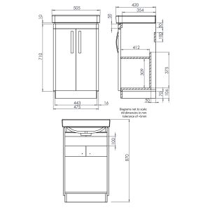 Tavistock Compass Grey Freestanding Vanity Unit 500mm Dimensions