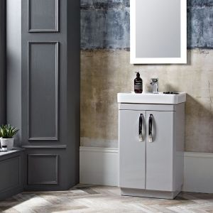Tavistock Compass Grey Freestanding Vanity Unit 500mm Lifestyle