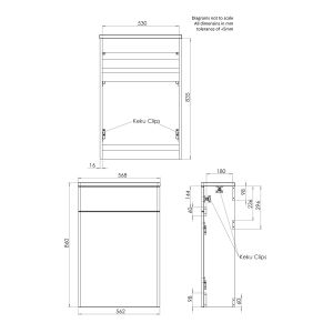 Tavistock Compass Gloss White WC Unit Dimensions