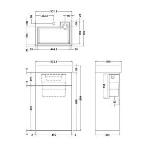 Toilet with integrated basin drawing