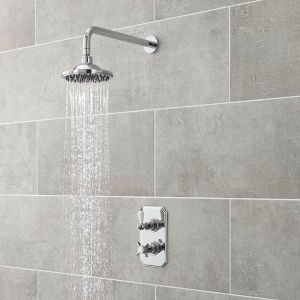 Ultra Traditional Rectangular Twin Concealed Thermostatic Shower Valve Lifestyle
