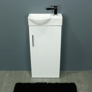 Cassellie 400 Series Mini Gloss White Single Door Vanity Unit Front