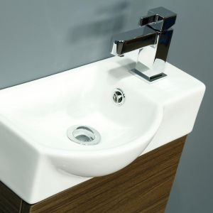 Cassellie 400 Series Mini Walnut Single Door Vanity Unit Basin