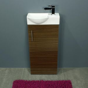 Cassellie 400 Series Mini Walnut Single Door Vanity Unit Front