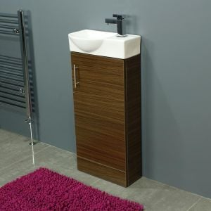 Cassellie 400 Series Mini Walnut Single Door Vanity Unit