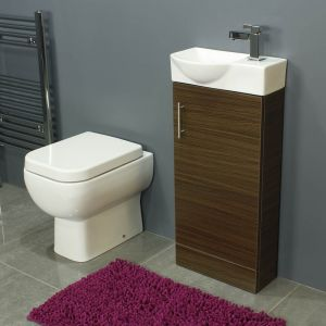 RAK Series 600 Back To Wall Toilet and 400 Series Walnut Mini Vanity Unit
