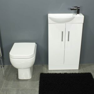 RAK Series 600 Back To Wall and 500 Series Gloss White Mini Double Door Vanity Unit Front
