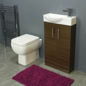 RAK Series 600 Back To Wall Toilet and 500 Series Walnut Mini Double Door Vanity Unit