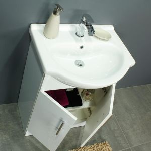 RAK Series 600 Back To Wall Toilet and 550 Series Gloss White Vanity Unit Doors Open