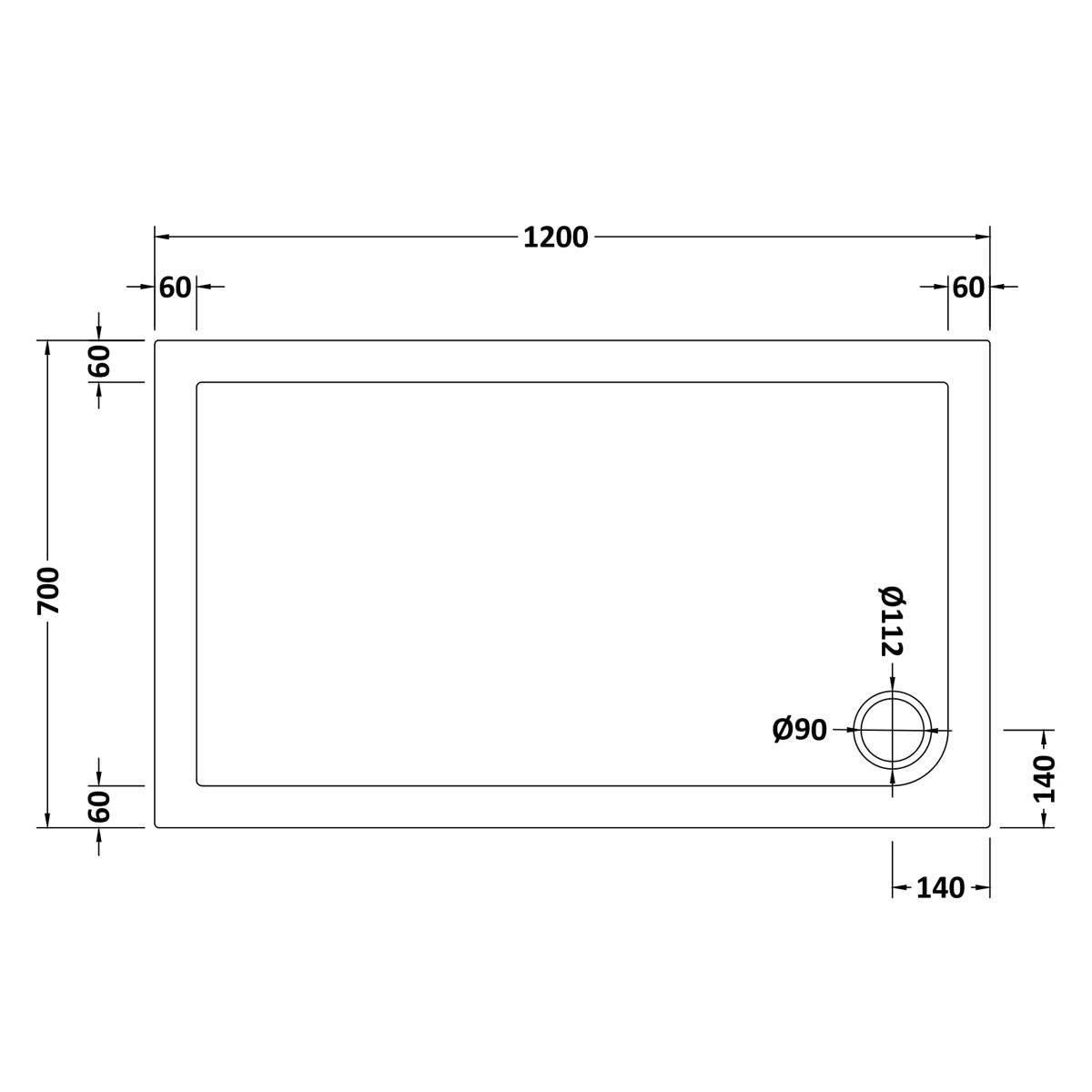 1200 x 700 Shower Tray Slate Grey Rectangular Low Profile by Pearlstone Dimensions