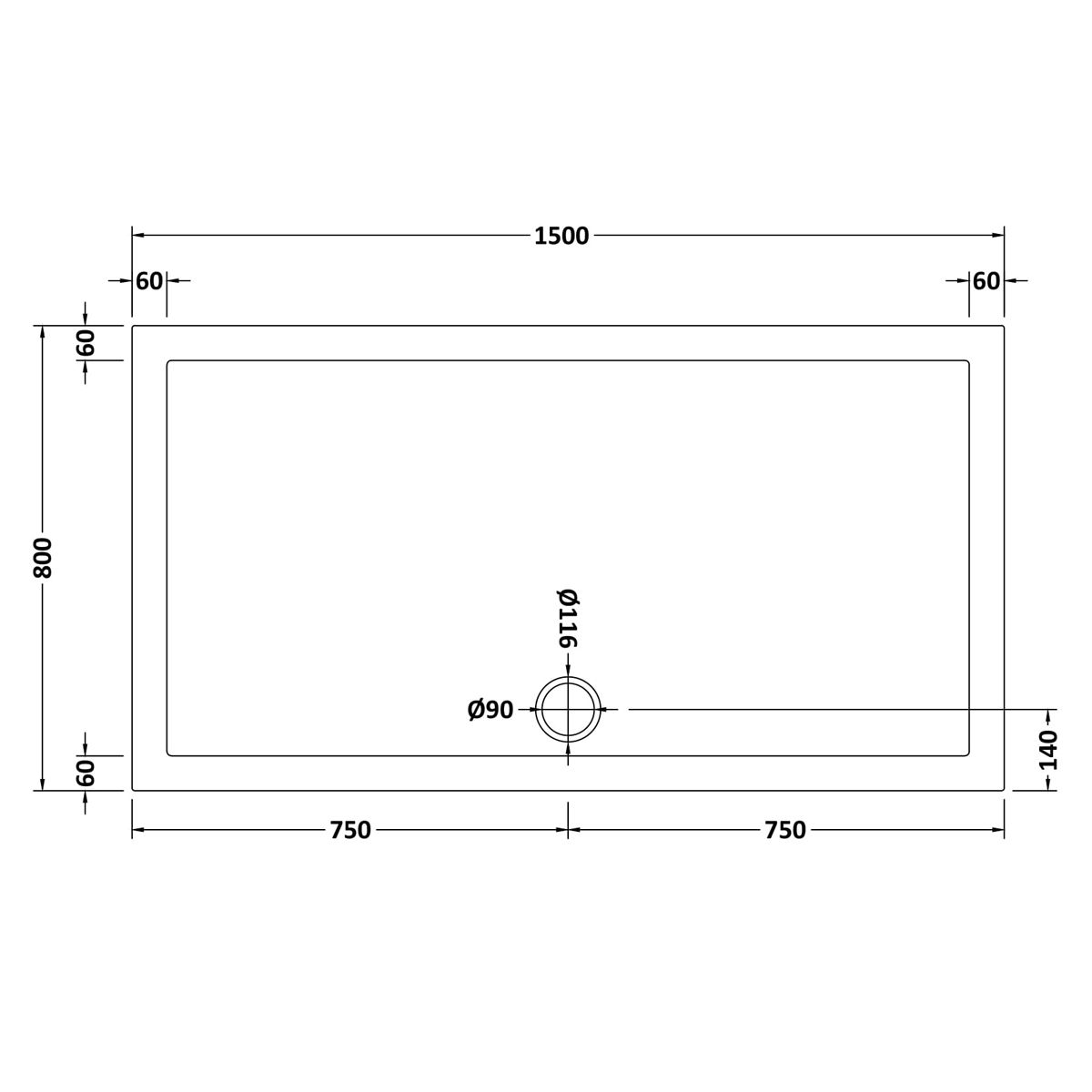 1500 x 800 Shower Tray Rectangular Low Profile by Pearlstone Dimensions