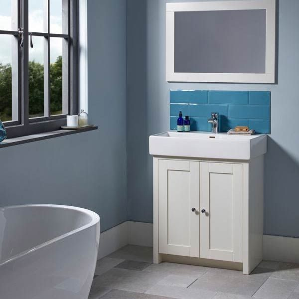 Tavistock Lansdown Pebble Grey Freestanding Vanity Unit Lifestyle