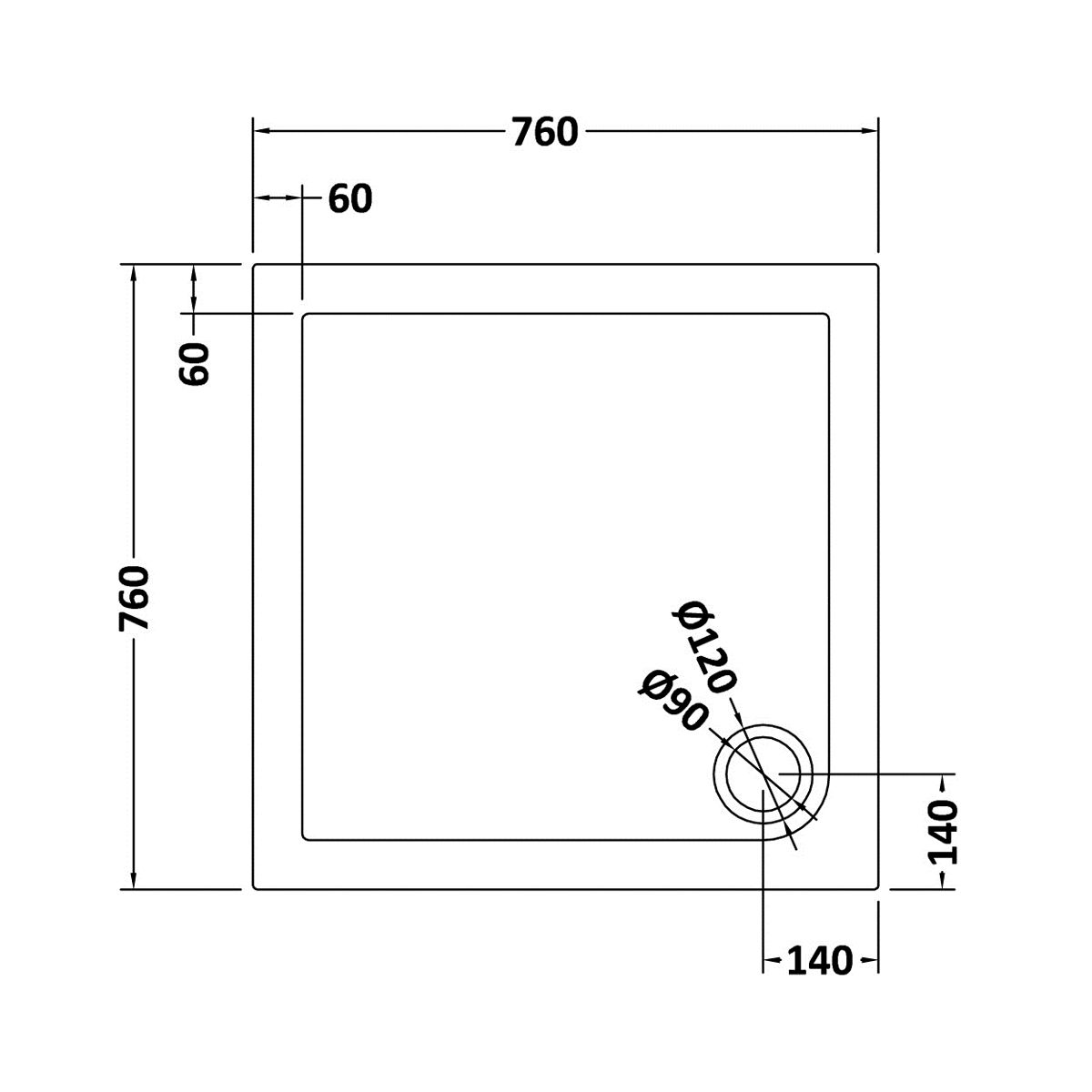760 x 760 Shower Tray Square Low Profile by Pearlstone Dimensions