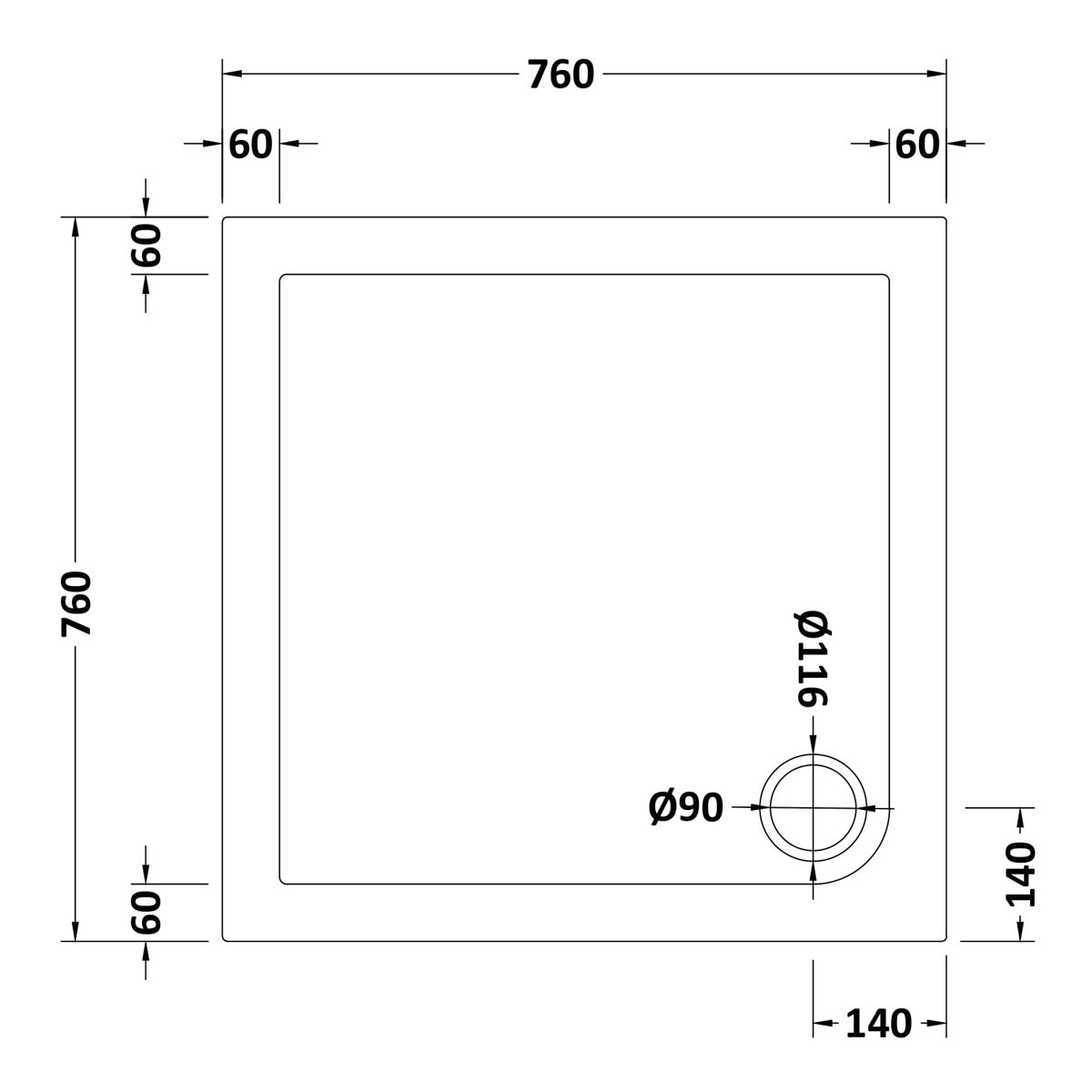 760 x 760 Shower Tray Slate Grey Square Low Profile by Pearlstone Dimensions
