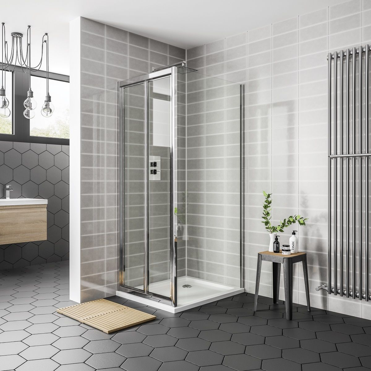 April Destini Bifold Shower Door with Optional Side Panel