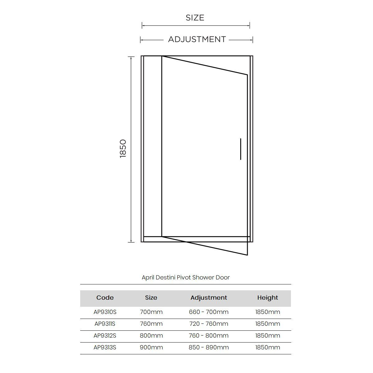 April Destini Pivot Shower Door with Optional Side Panel Dimensions
