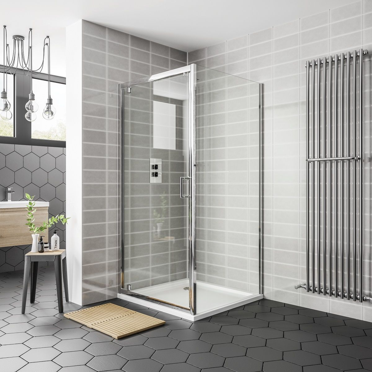 April Destini Pivot Shower Door with Optional Side Panel