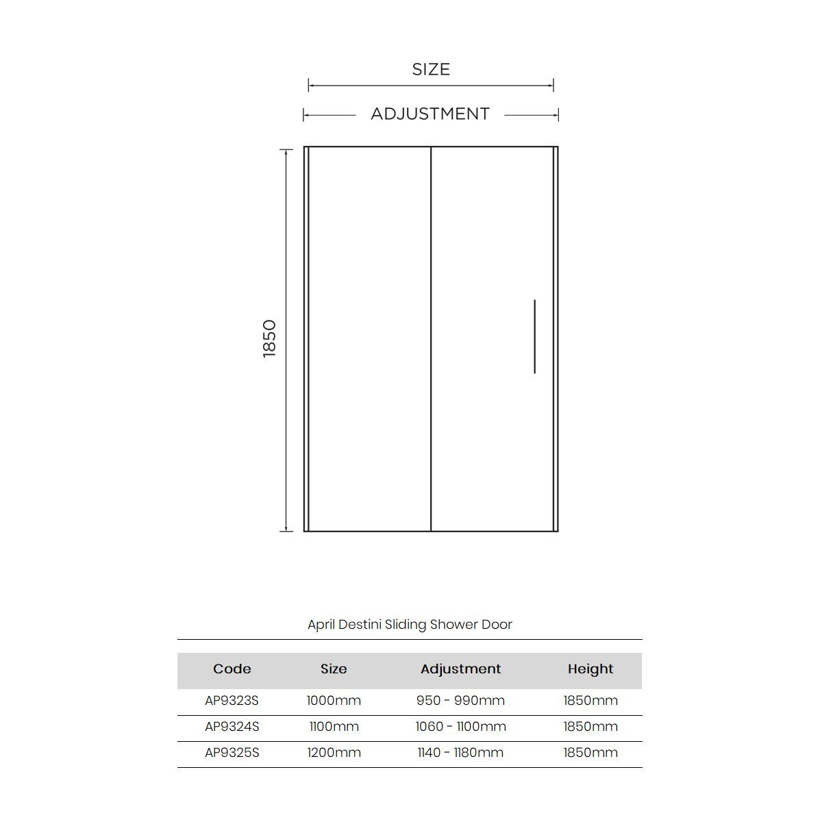 April Destini Sliding Shower Door with Optional Side Panel Dimensions