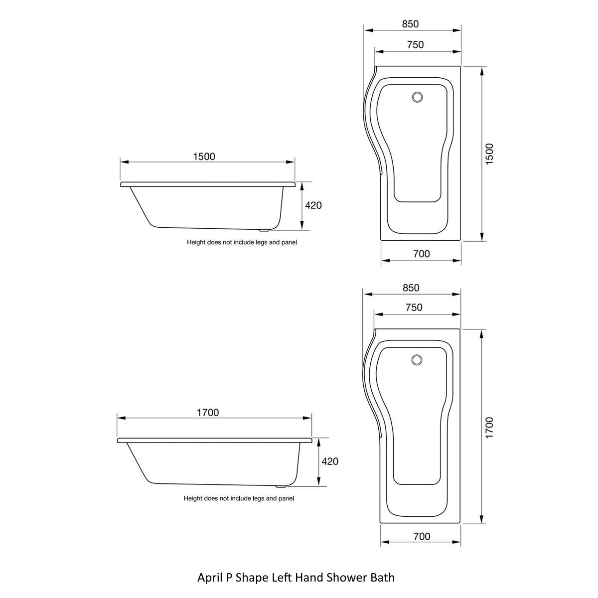 April P Shape Left Hand Shower Bath Drawing Dimensions