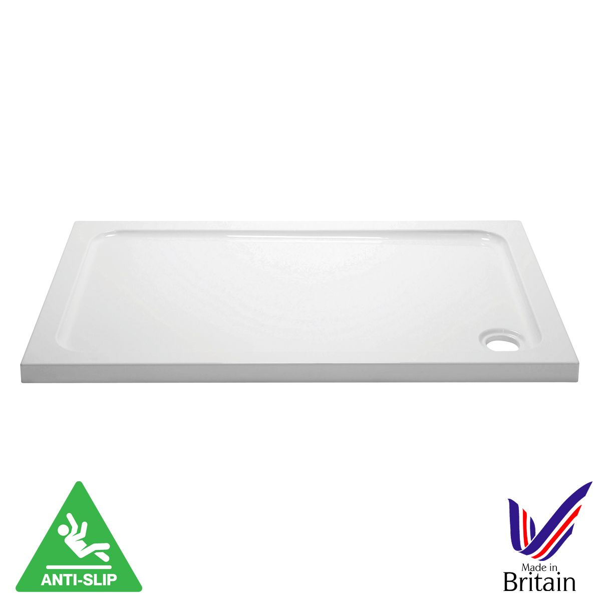 April Rectangular Anti Slip Shower Tray 1600 x 700