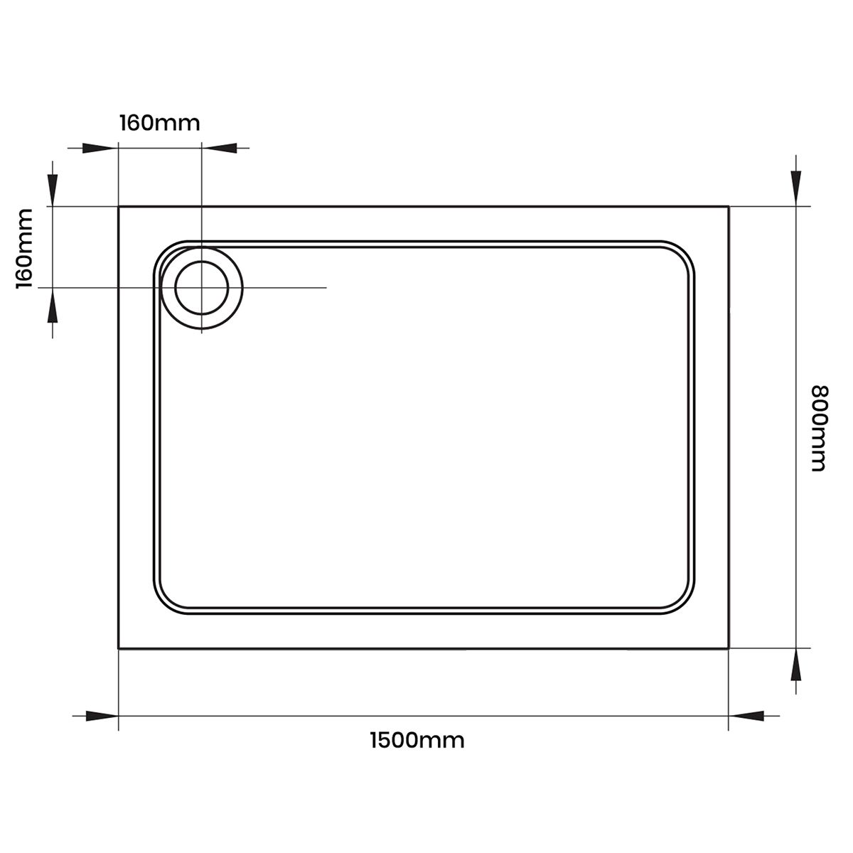 Aquadart Rectangular 1500 x 800 Shower Tray