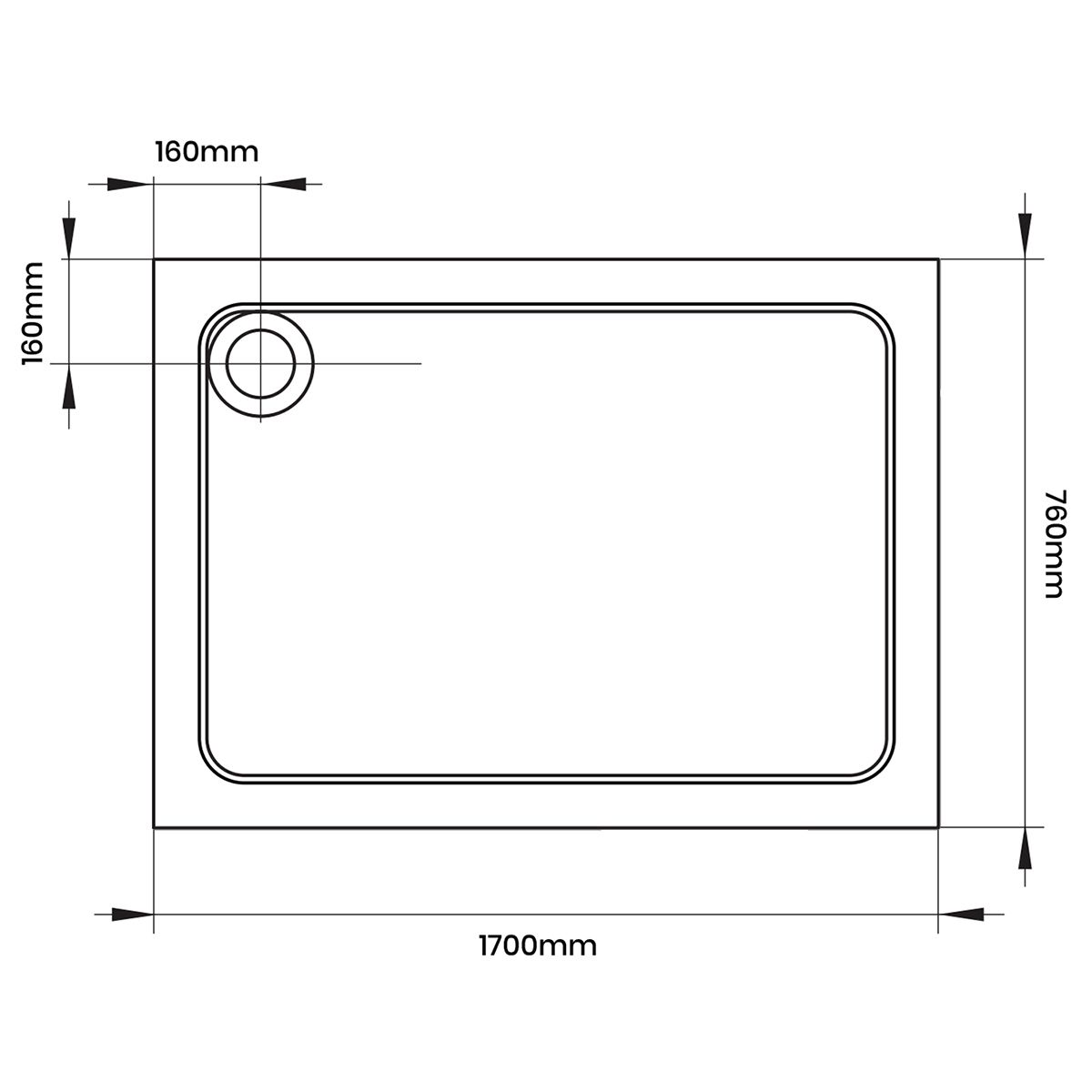 Aquadart Rectangular 1700 x 760 Shower Tray