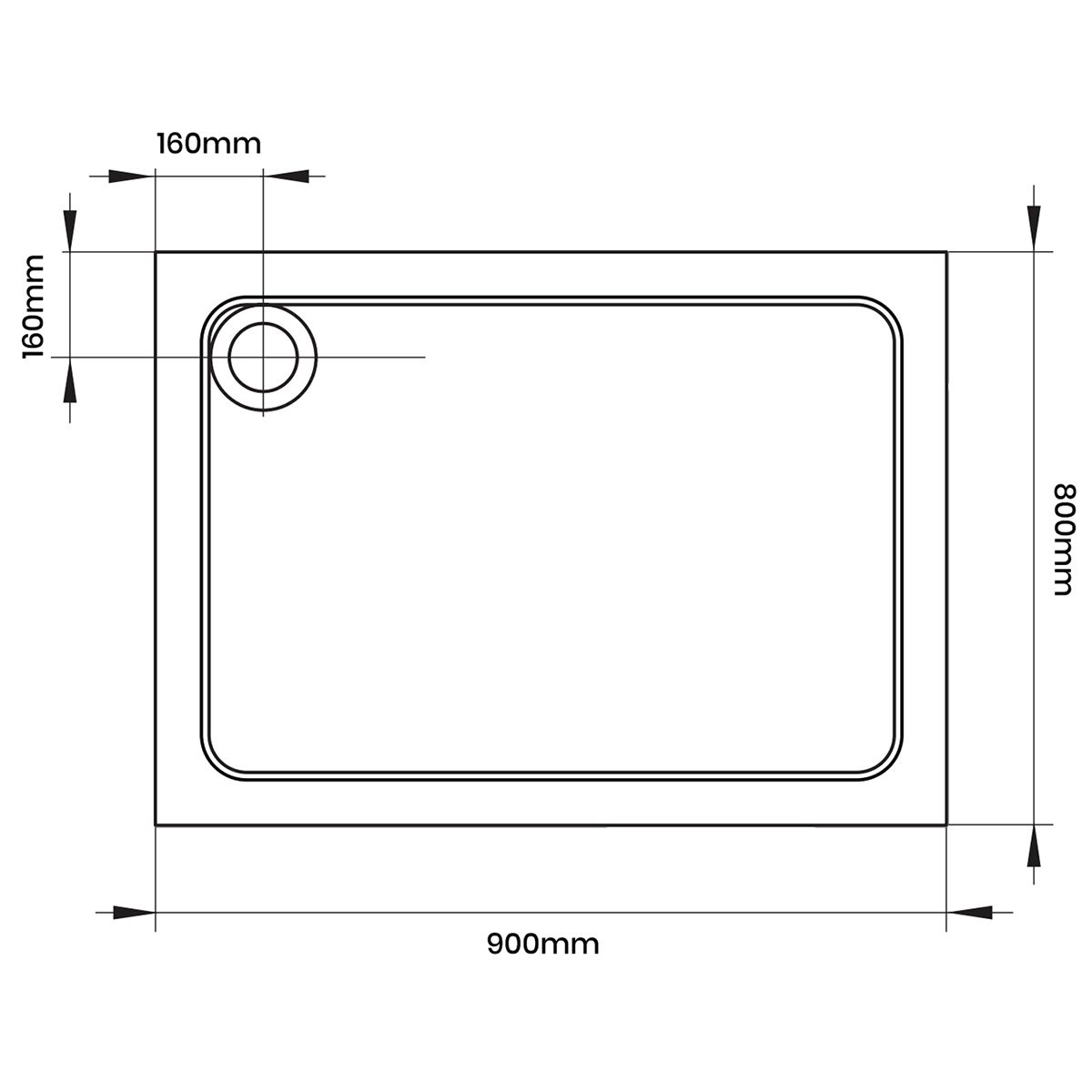 Aquadart Rectangular 900 x 800 Shower Tray
