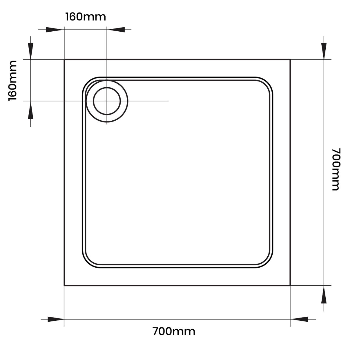 Aquadart Square 700 x 700 Shower Tray