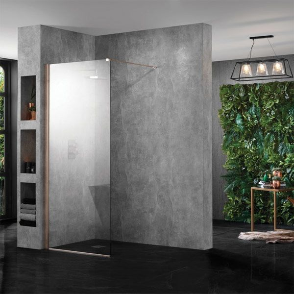 Aquadart Wet Room 10 Copper Wetroom Shower Enclosure with Optional Side Panel