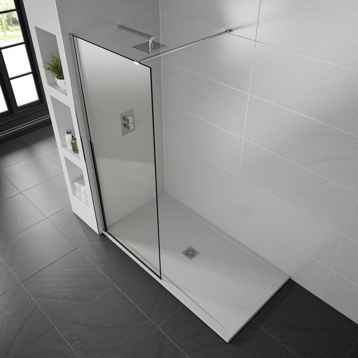 Aquadart White Slate Shower Tray 1400 x 760 Lifestyle
