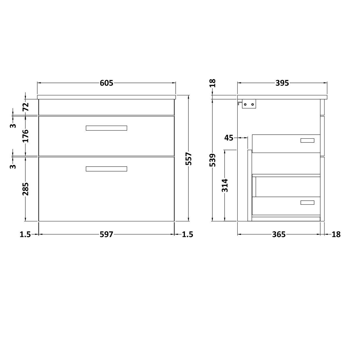 Nuie Athena Gloss Grey Mist 2 Drawer Wall Hung Unit 600mm Drawing