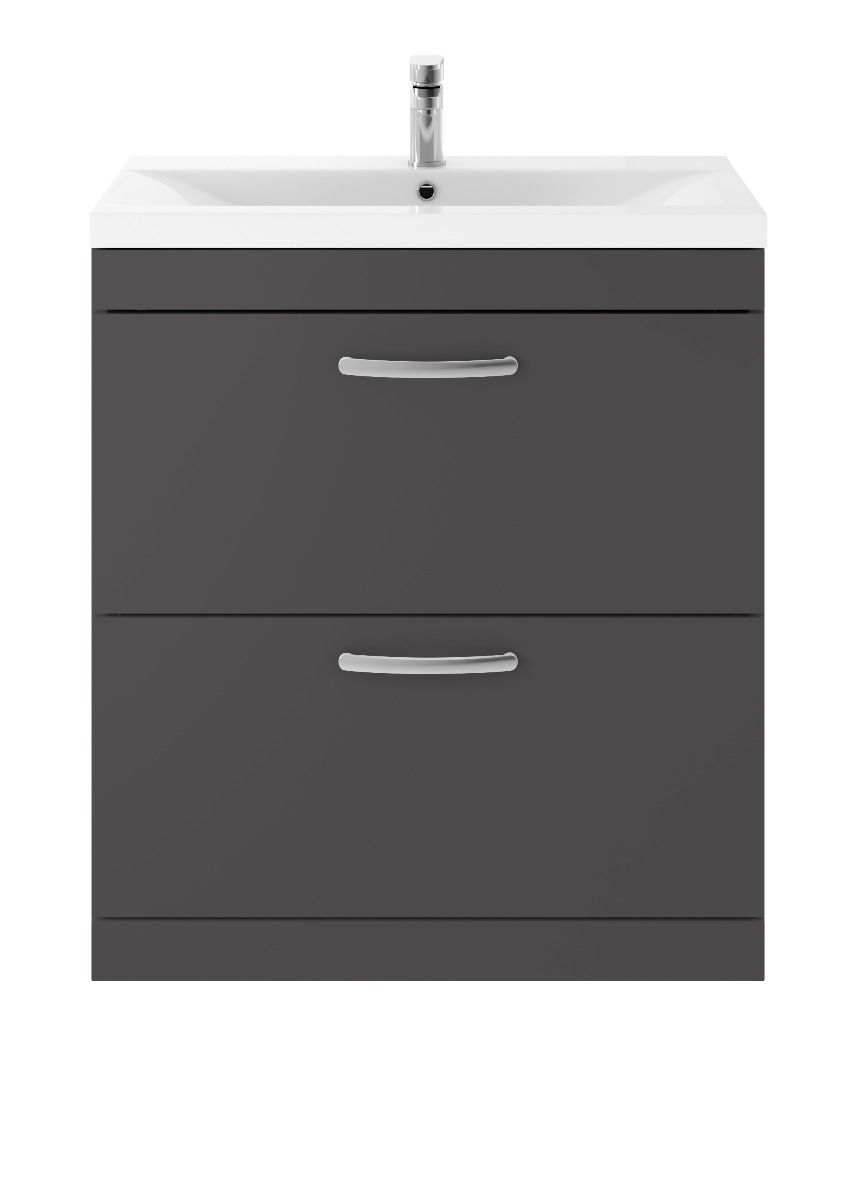 Nuie Athena Gloss Grey 2 Drawer Floor Standing Vanity Unit 800mm