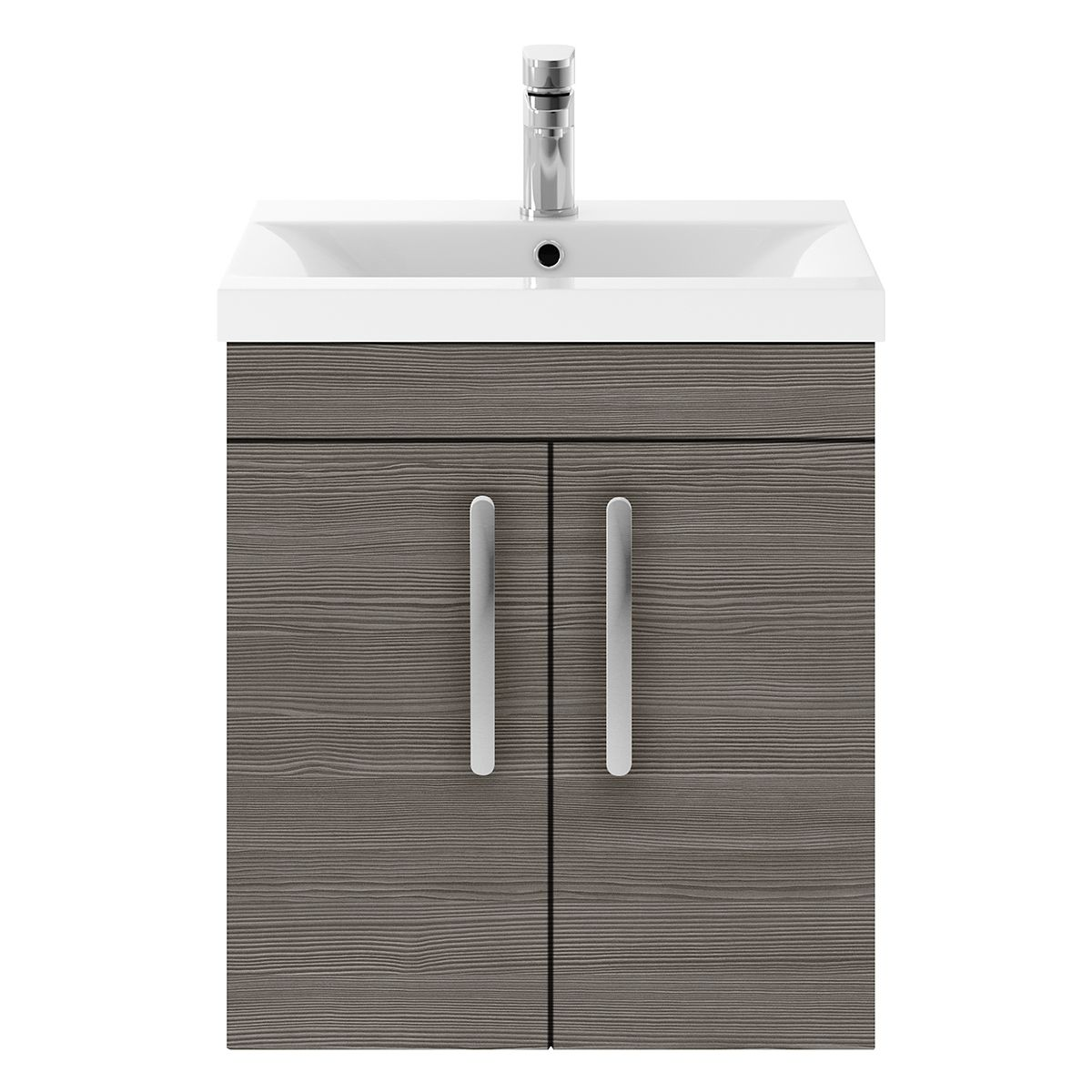 Nuie Athena Grey Avola 2 Door Wall Hung Unit 500mm with Mid Edge Basin