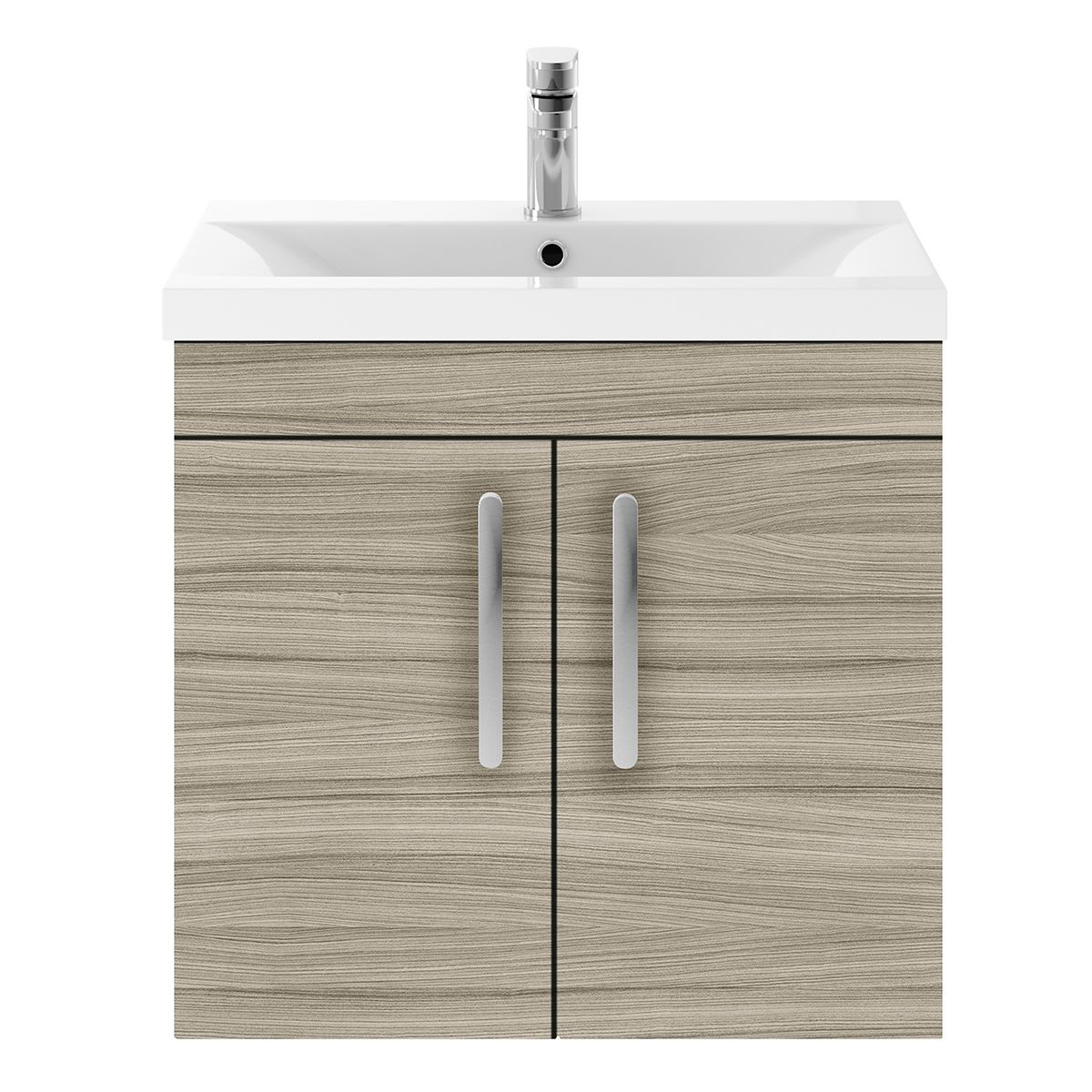 Nuie Athena Driftwood 2 Door Wall Hung Unit 600mm with Mid Edge Basin
