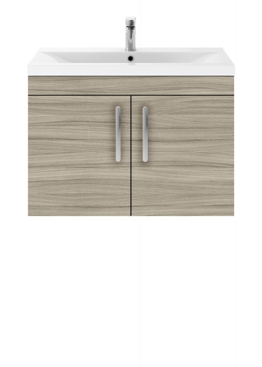 Nuie Athena Natural Oak 2 Door Wall Hung Unit 600mm with Mid Edge Basin