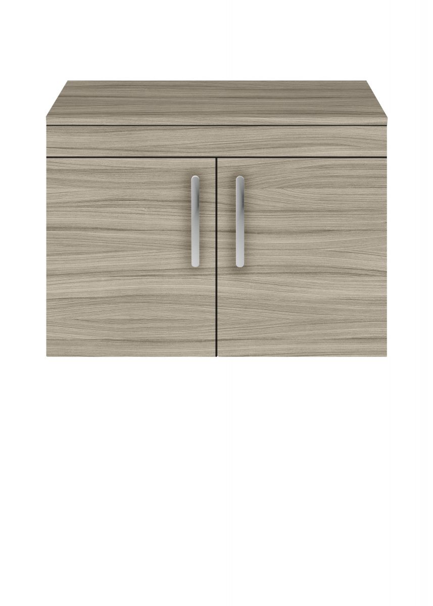 Nuie Athena Natural Oak 2 Door Wall Hung Unit 600mm with Worktop