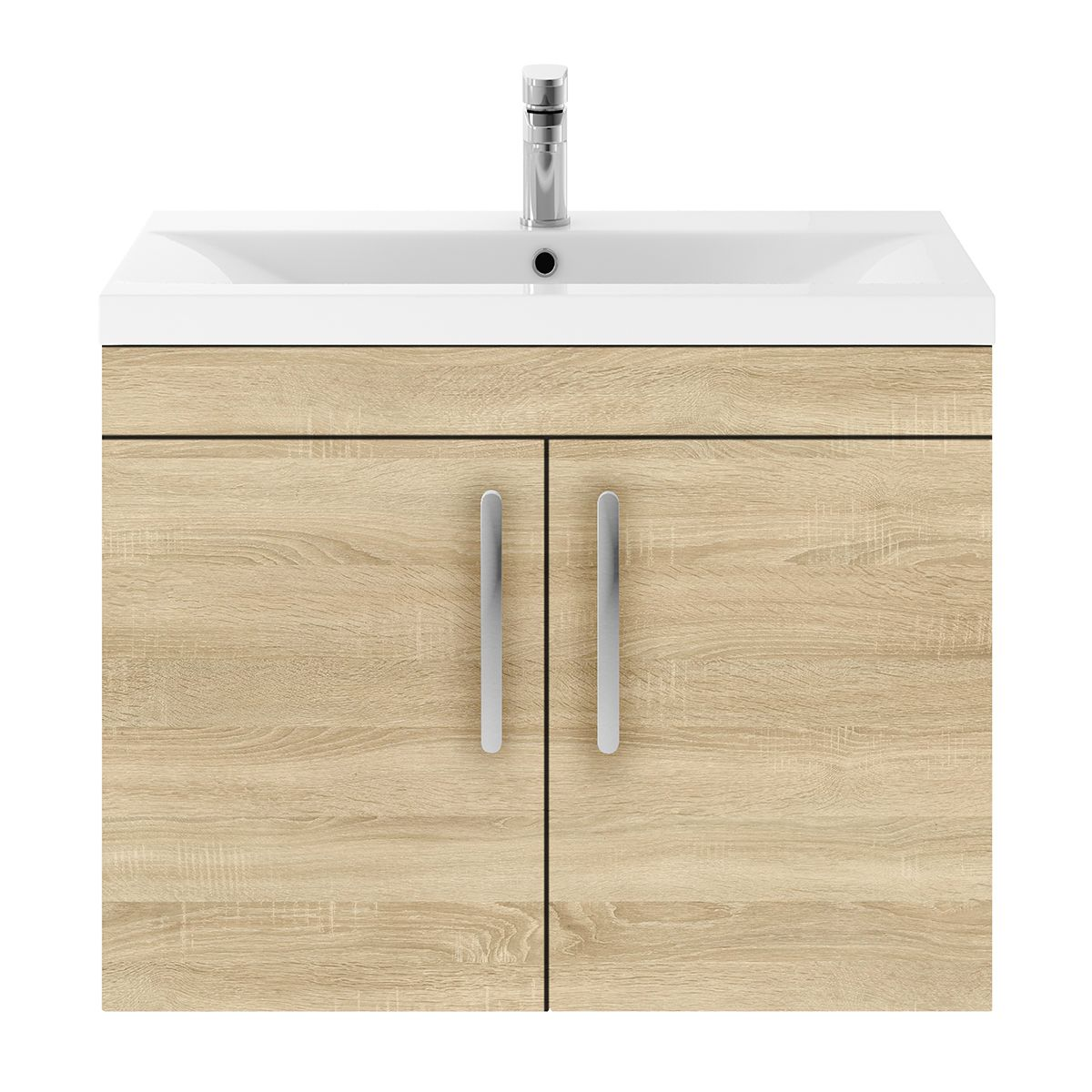 Nuie Athena Natural Oak 2 Door Wall Hung Unit 800mm with Mid Edge Basin