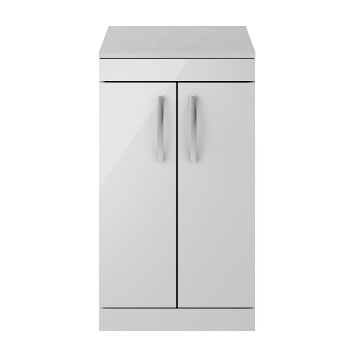 Nuie Athena Gloss Grey Mist 2 Door Floor Standing Unit 500mm with Worktop
