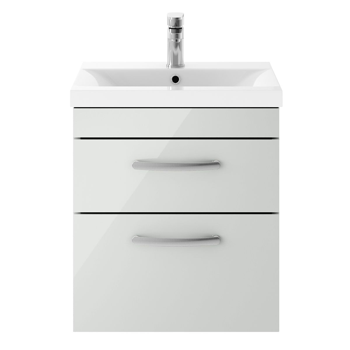 Nuie Athena Gloss Grey Mist 2 Drawer Wall Hung Unit 500mm with Med Edge Basin