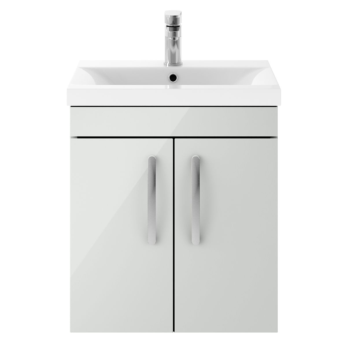 Nuie Athena Gloss Grey Mist 2 Door Wall Hung Unit 500mm with Mid Edge Basin