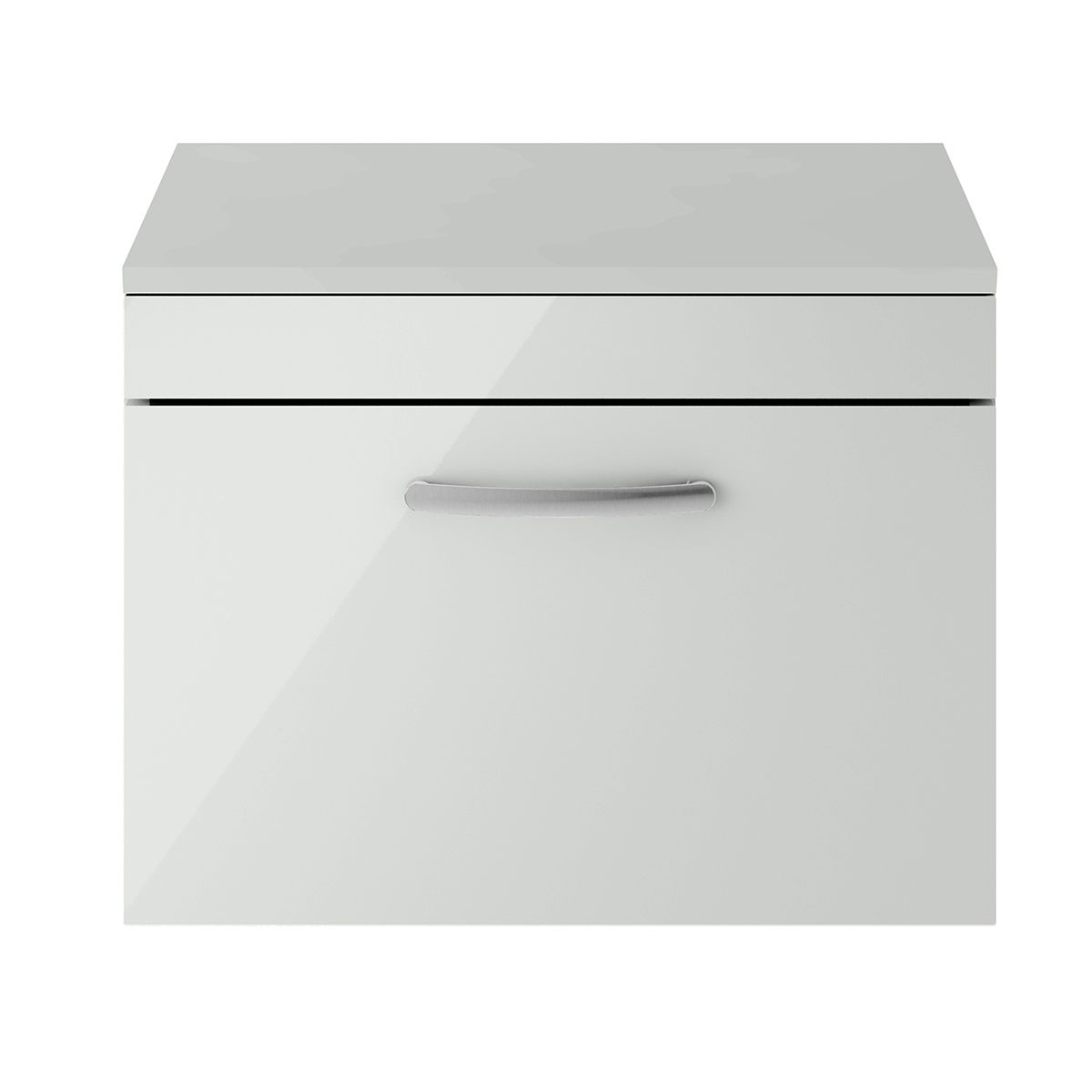 Nuie Athena Gloss Grey Mist 1 Drawer Wall Hung Unit 600mm with Worktop