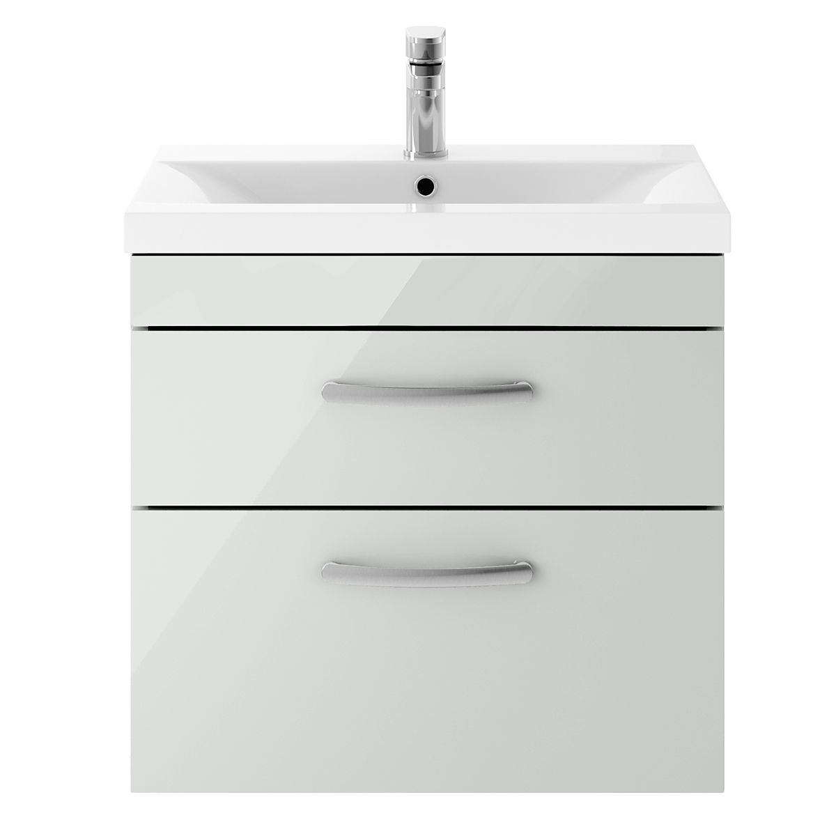 Nuie Athena Gloss Grey Mist 2 Drawer Wall Hung Unit 600mm with Mid Edge Basin