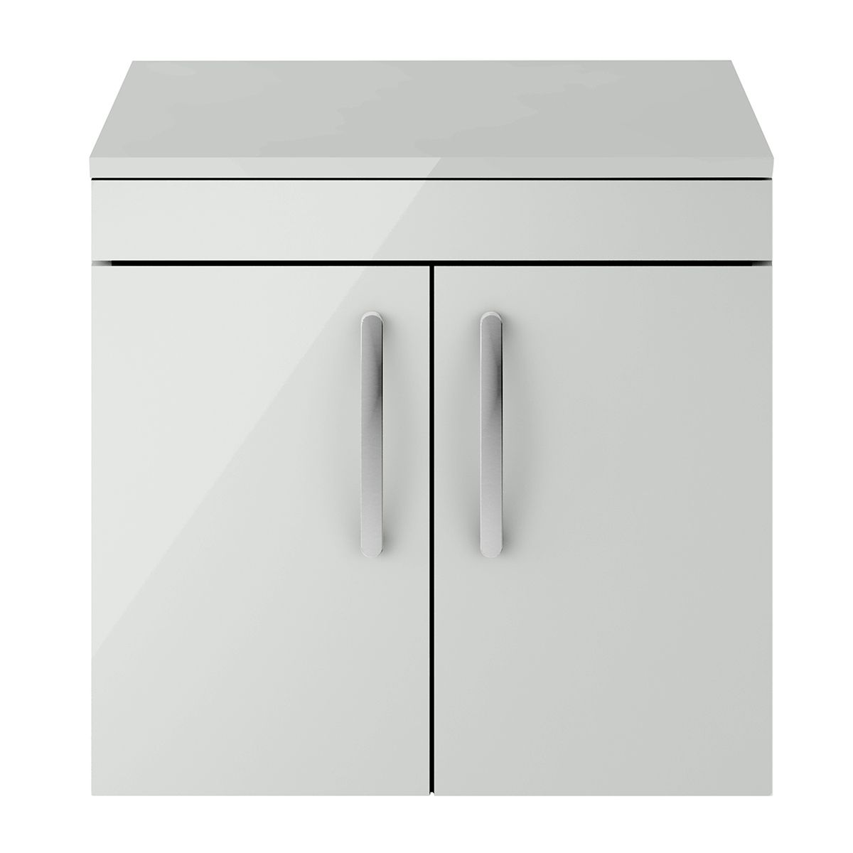 Nuie Athena Gloss Grey Mist 2 Door Wall Hung Unit 600mm with Worktop