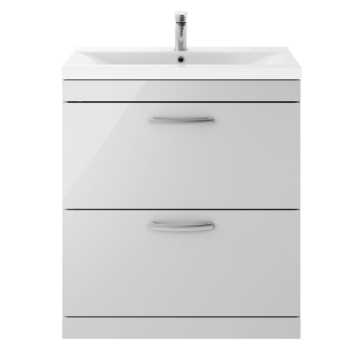 Nuie Athena Gloss Grey Mist 2 Drawer Floor Standing Unit 800mm with Mid Edge Basin