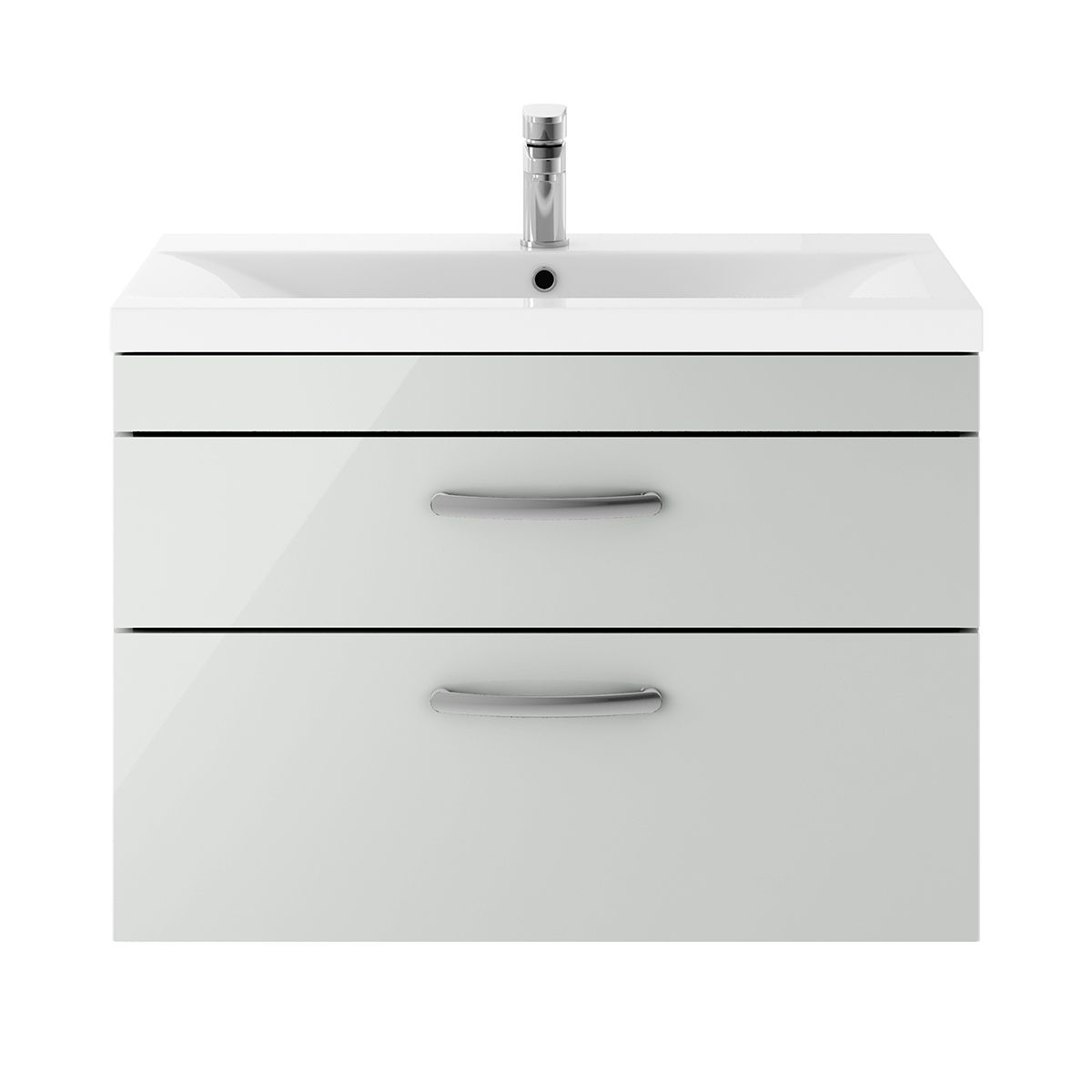 Nuie Athena Gloss Grey Mist 2 Drawer Wall Hung Unit 800mm with Mid Edge Basin