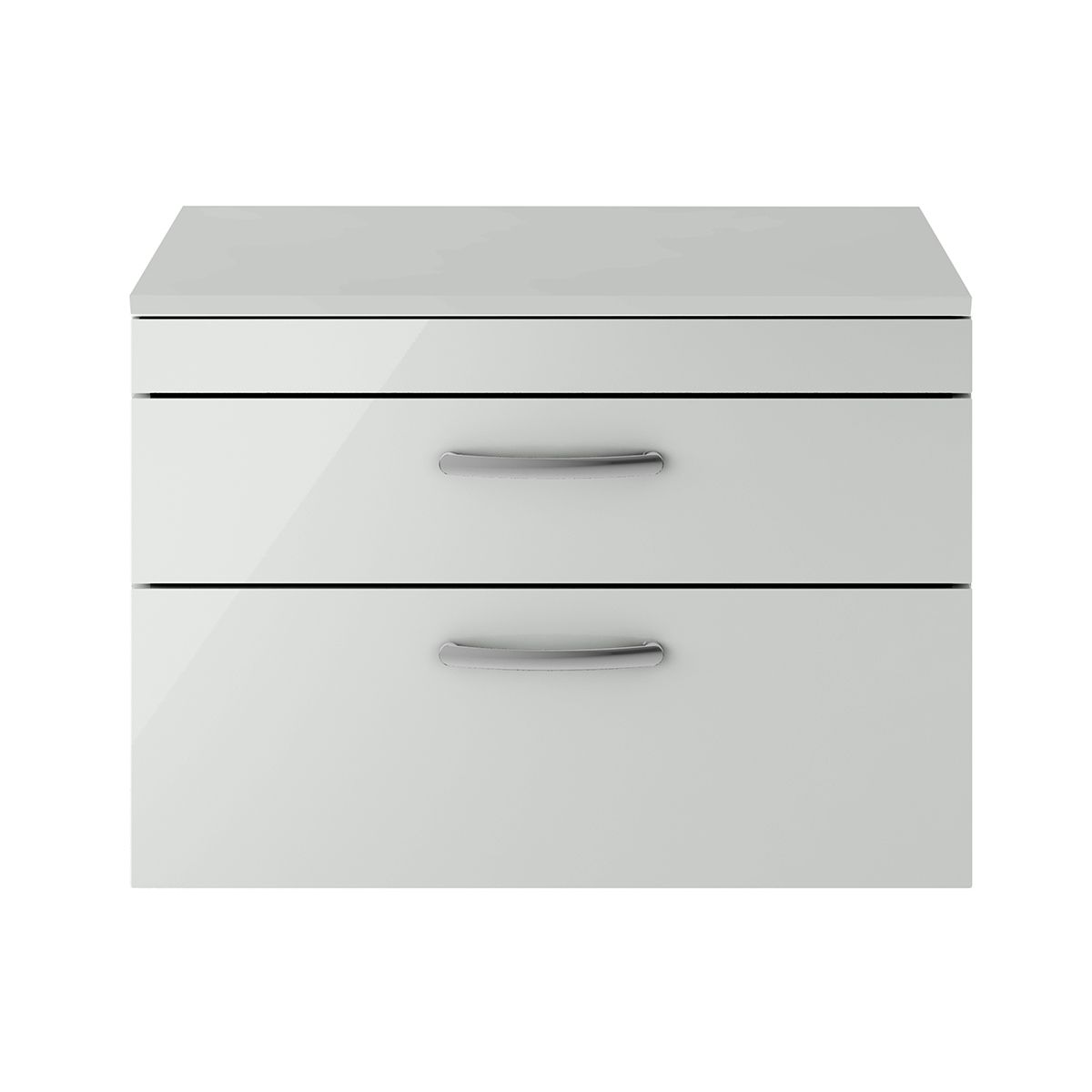 Nuie Athena Gloss Grey Mist 2 Drawer Wall Hung Unit 800mm with Worktop