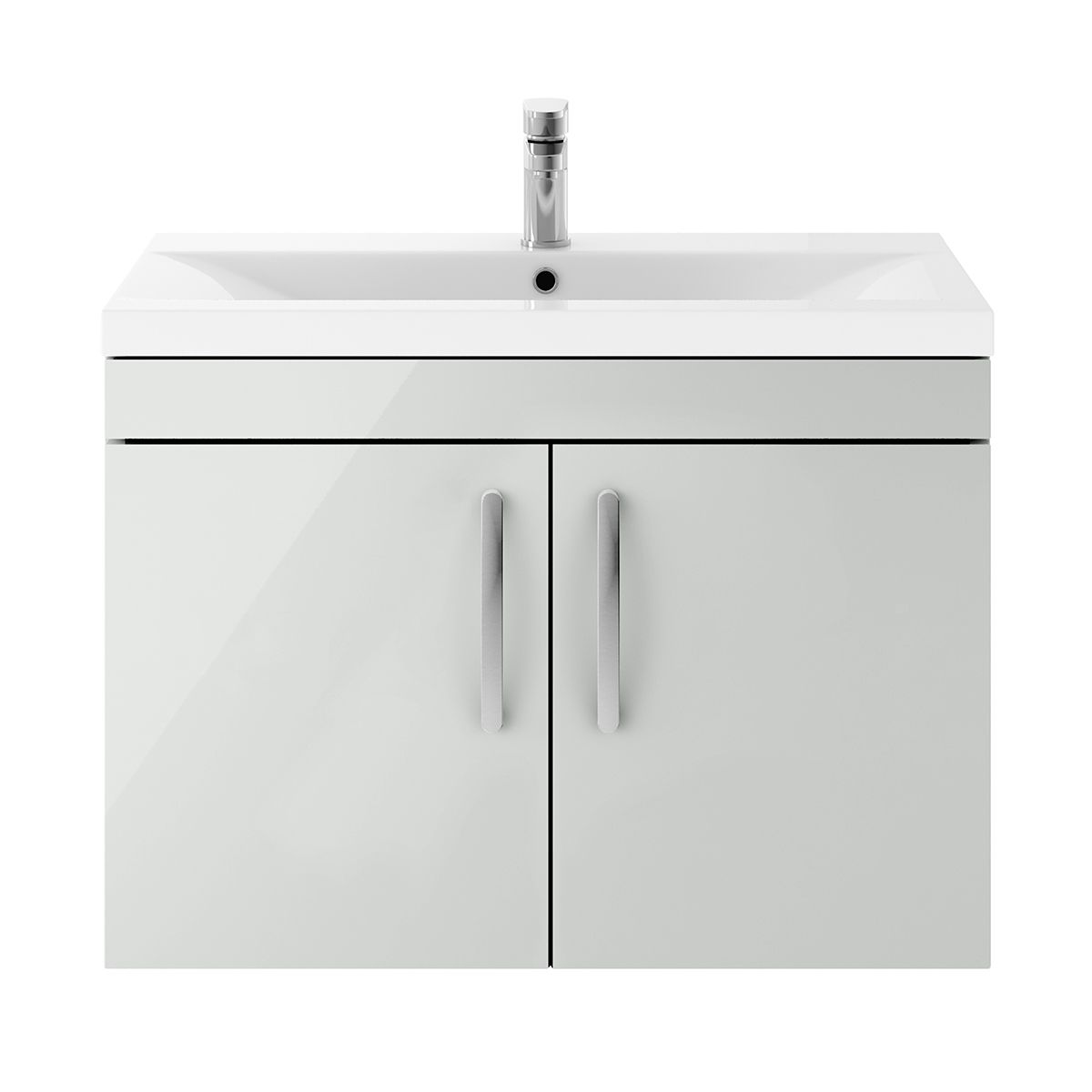 Nuie Athena Gloss Grey Mist 2 Door Wall Hung Unit 800mm with Mid Edge Basin
